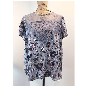 NWT Maurice's Grey Floral Top Crochet Lace